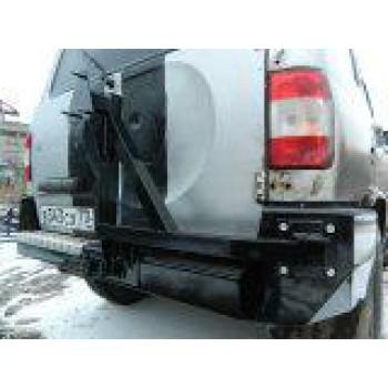 Бампер силовой задний УАЗ Патриот Рысь с  кронштейном крепления запасного колеса
