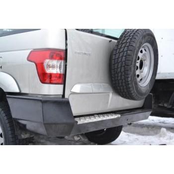 Бампер силовой задний УАЗ Патриот Партизан без кронштейна запасного колеса с алюминиевой накладкой