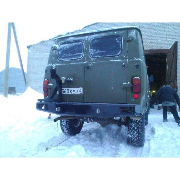 Бампер силовой УАЗ 452 задний Аллигатор задний с калиткой под запаску