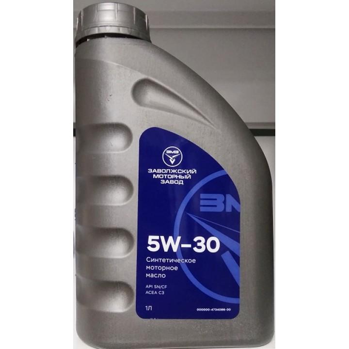 Масло ZMZ моторное 5w30 (синтетика, ACEA, C3, API, SN/CF,  1Л.)