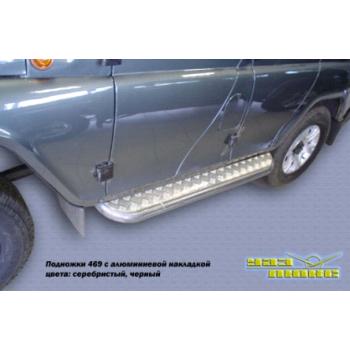 Силовые пороги УАЗ Хантер с алюминиевыми накладкам