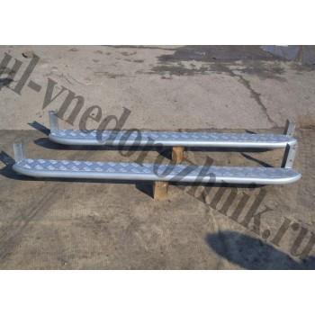 Силовые пороги УАЗ Патриот гнутые  с алюминиевой накладкой