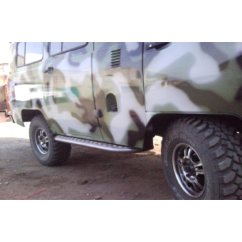 Силовые пороги УАЗ 452 с алюминиевыми накладками