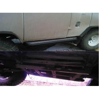 Силовые пороги УАЗ 452 буханка с возможностью подъёма Hi-jack с защитой баков