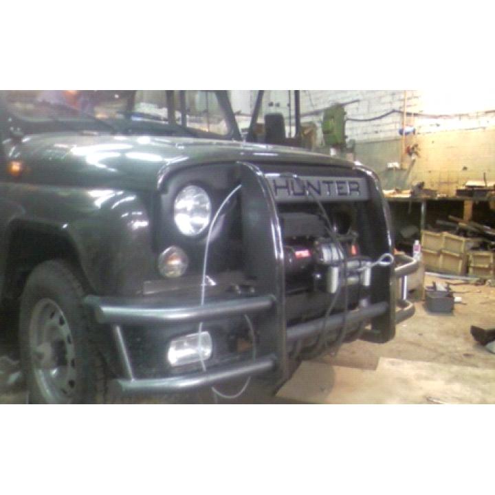 Кенгурин УАЗ Хантер Сафари с защитой двигателя и бампера