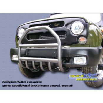 Кенгурин  УАЗ Хантер трубный Ф 51 мм с защитой двигателя