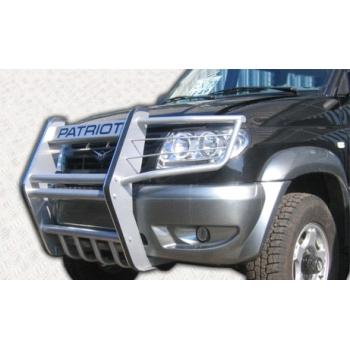 Кенгурин УАЗ Патриот Самурай с защитой двигателя и защитой фар