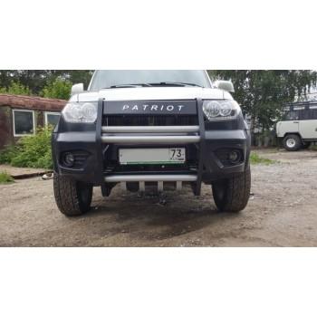 Кенгурин УАЗ Патриот Приоритет рестайлинг с защитой двигателя и кронштейнами крепления галогенок