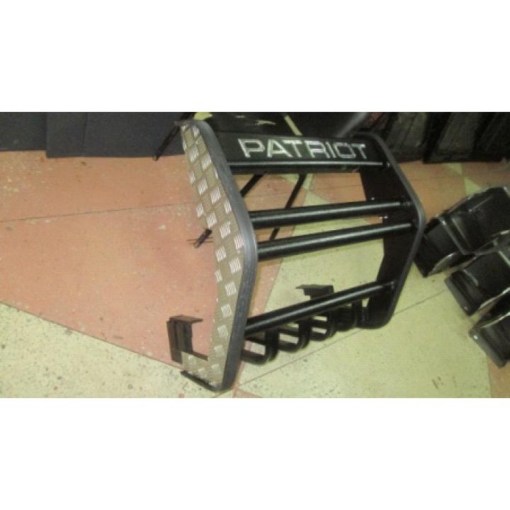 Кенгурин УАЗ Патриот Приоритет с алюминиевыми накладками с защитой двигателя
