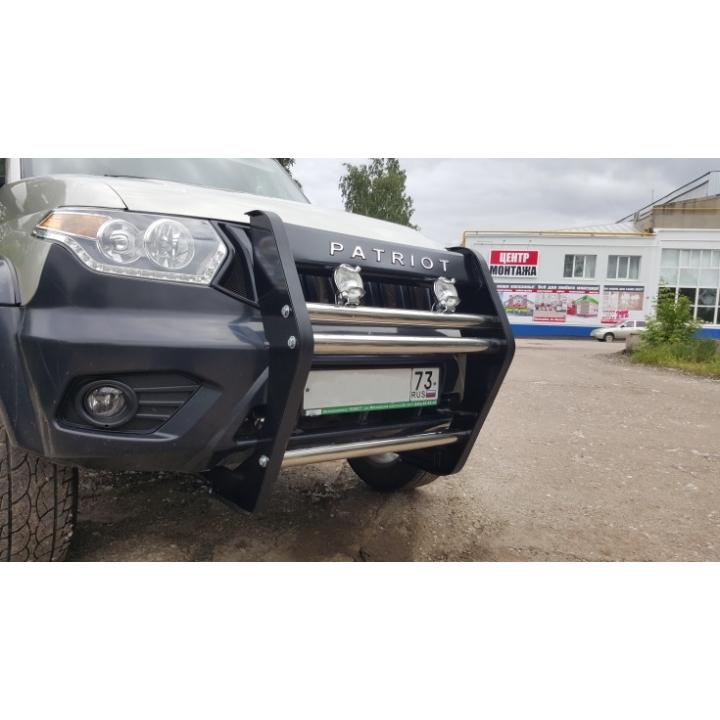 Кенгурин УАЗ Патриот Приоритет рестайлинг с нержавеющей трубой