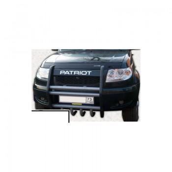 Кенгурин УАЗ Патриот  Приоритет с защитой двигателя и кронштейнами крепления галогенок